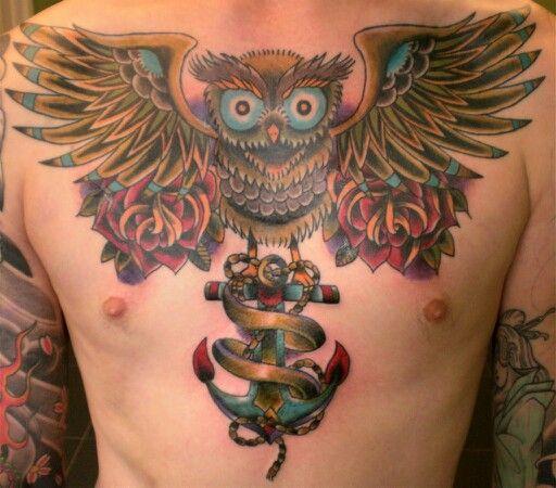 Owl And Anchor Tattoo Buho Tattoo Tatuajes Y Owl