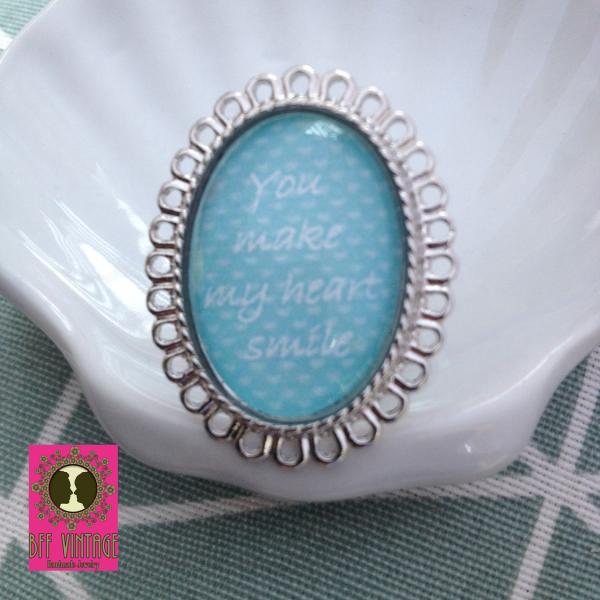 Ovalen vintage statement ring 'You make my heart smile'
