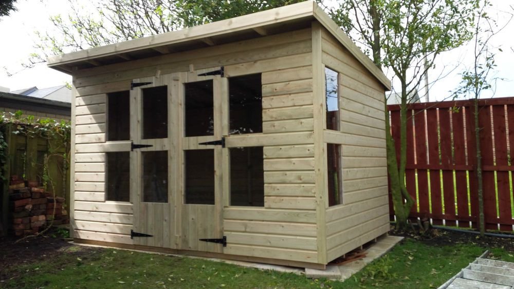 Garden Shed Summerhouse Super Heavy Duty 10x8 2 Canopy 19mm T G Floor 3x2 Garden Shed Wooden Garden