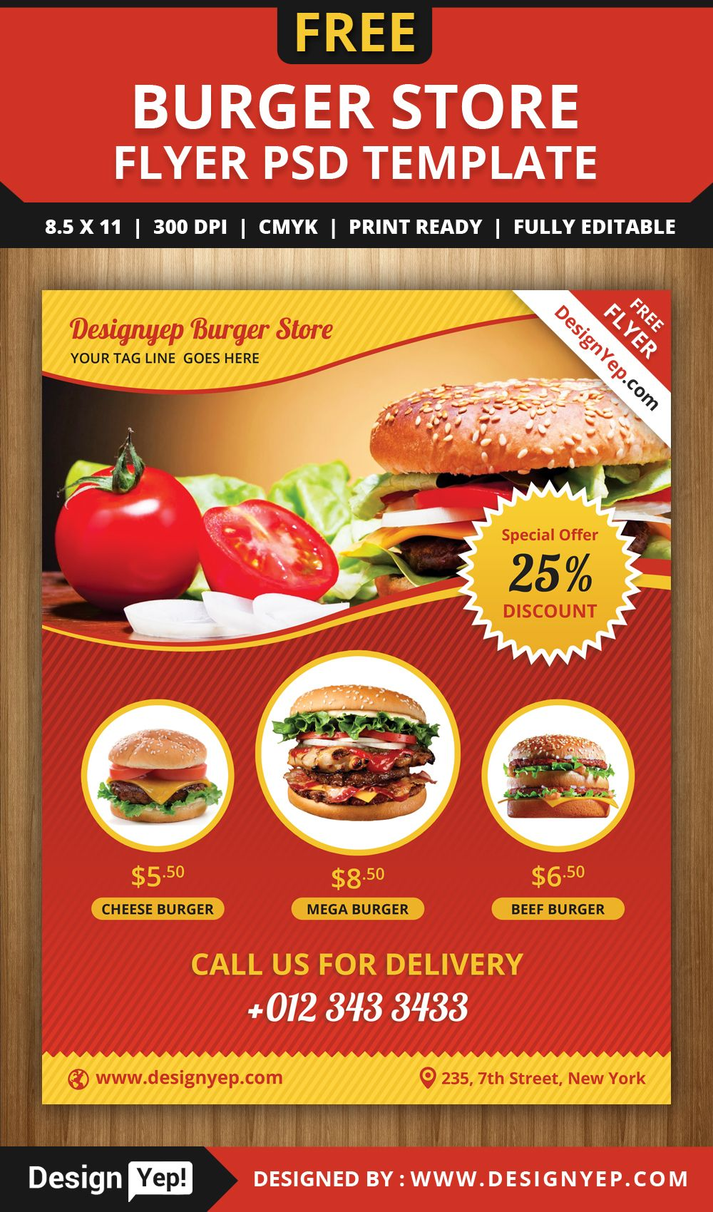 Free burger store flyer psd template 1988 desingyep free for Free food brochure templates
