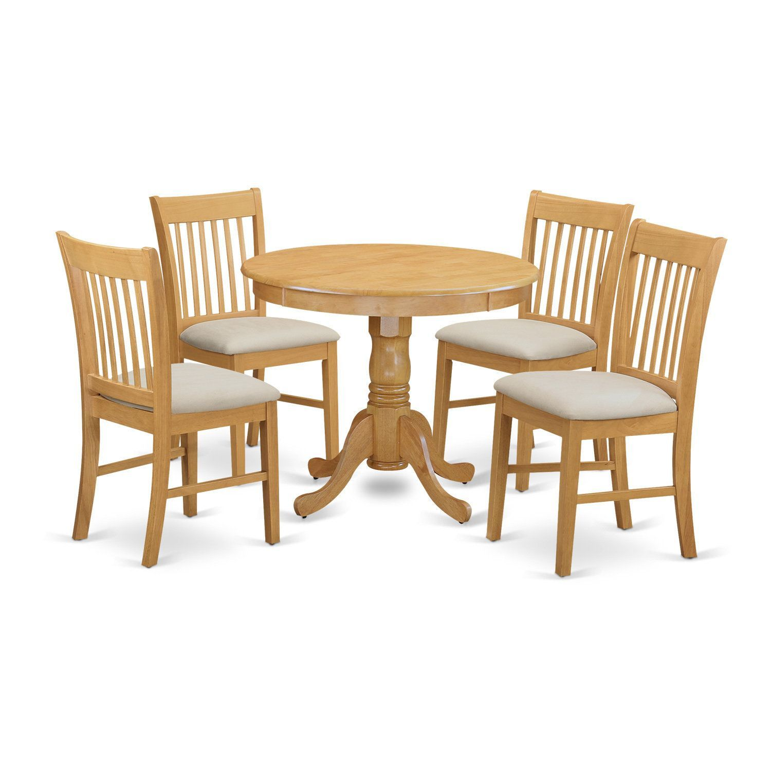 ANNO5-OAK 5-Piece Dinette table set - Small kitchen table and 4 ...