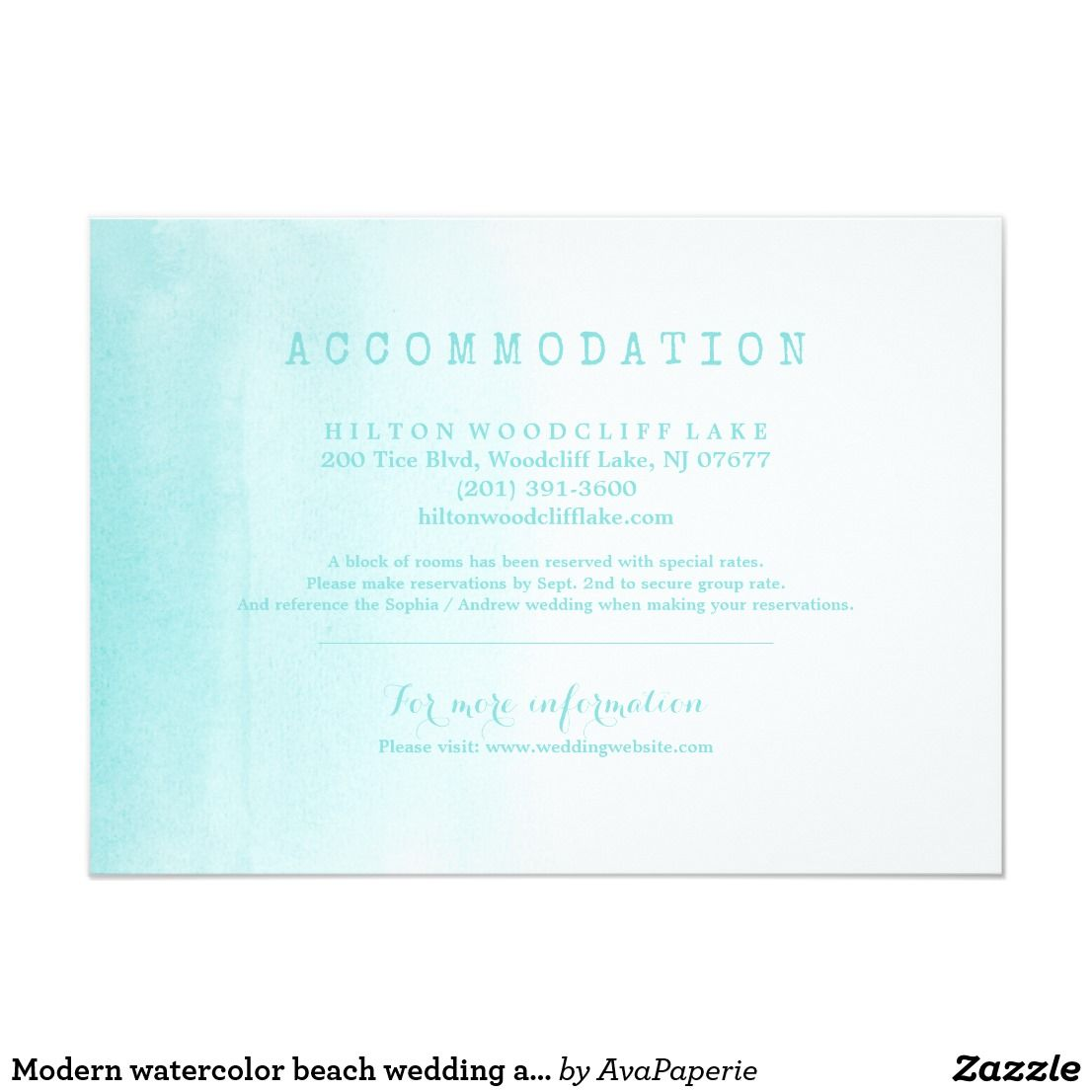 Modern watercolor beach wedding accommodation enclosure card ...