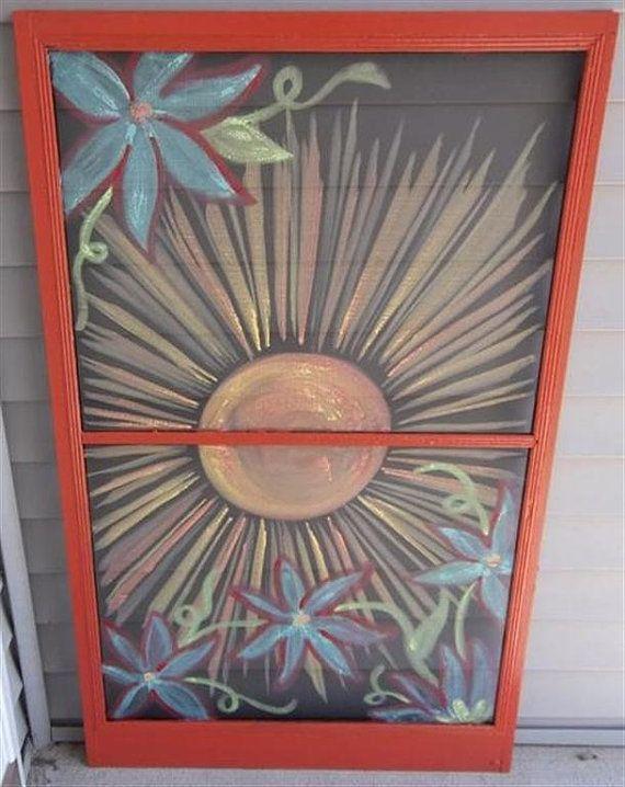 Painted Window Screen Art Screen Painting Window Crafts Old Window Screens