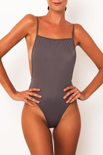 846b5522cb58c Classic 90 s high cut one-piece Medium to skimpy coverage Squared front  feature Low side plunge and back detail