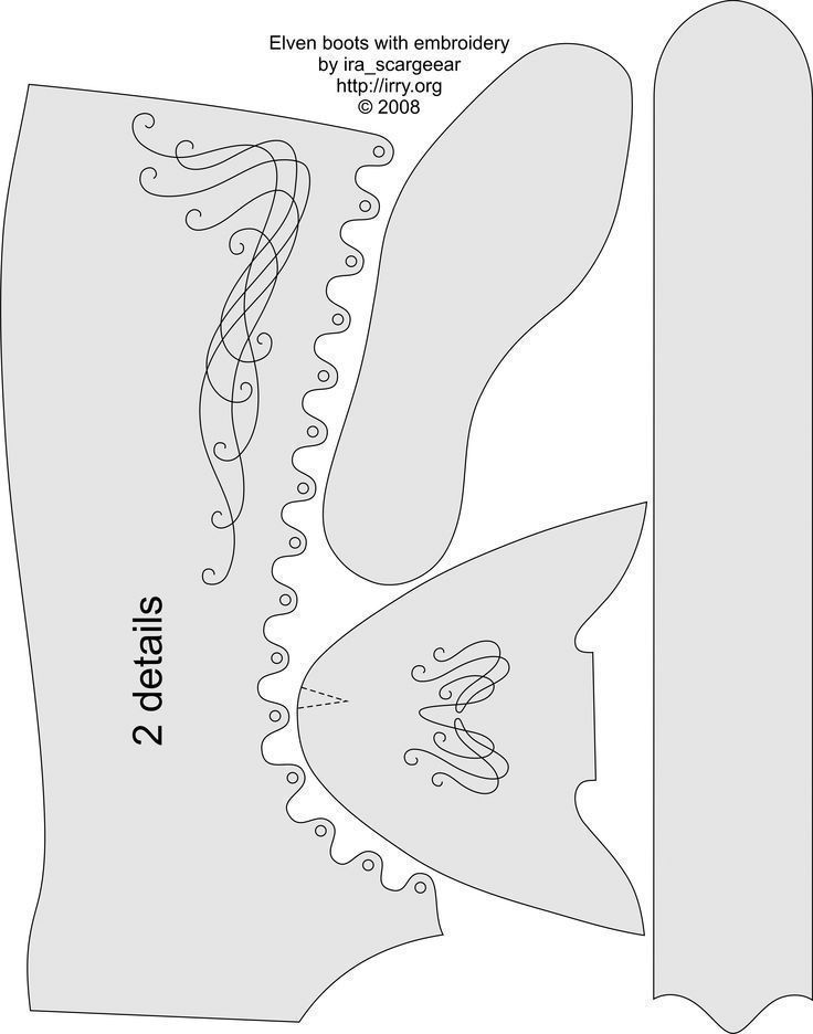 Photo of Elf boots pattern. This is from Scargeear on DeviantArt ….