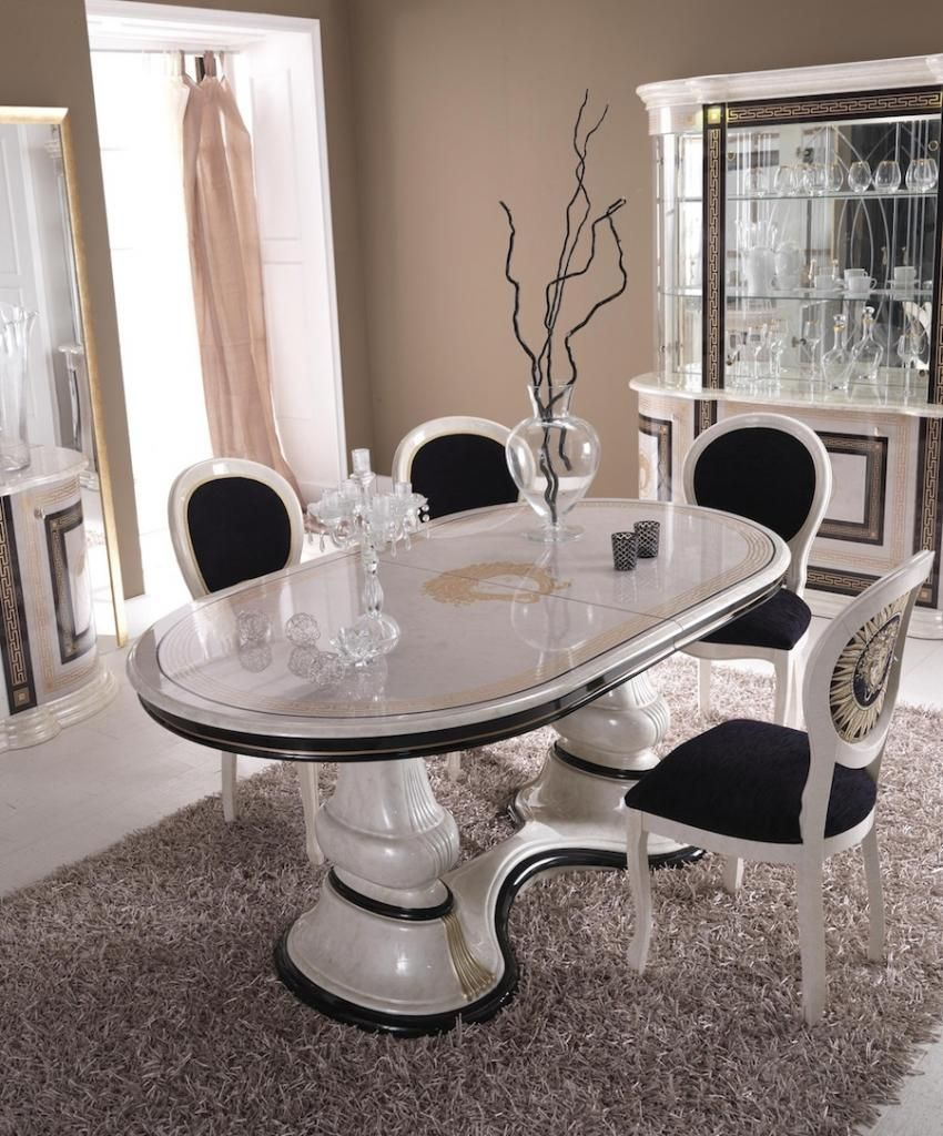Forli Cream  Gold Versace Oval Extending Dining Table
