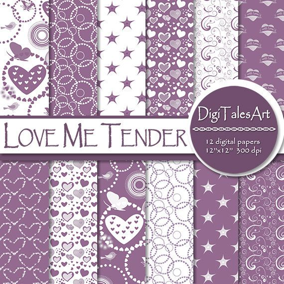 """Hearts digital paper """"Love Me Tender"""" in various shades of lavender and white with hearts, birds, butterflies, circles, stars, flowers and vegetal ornament patterns.  Perfect for scrapbooking, making cards, invitations, collages, crafts, web graphics, and so much more.  Digital paper pack by DigiTalesArt"""