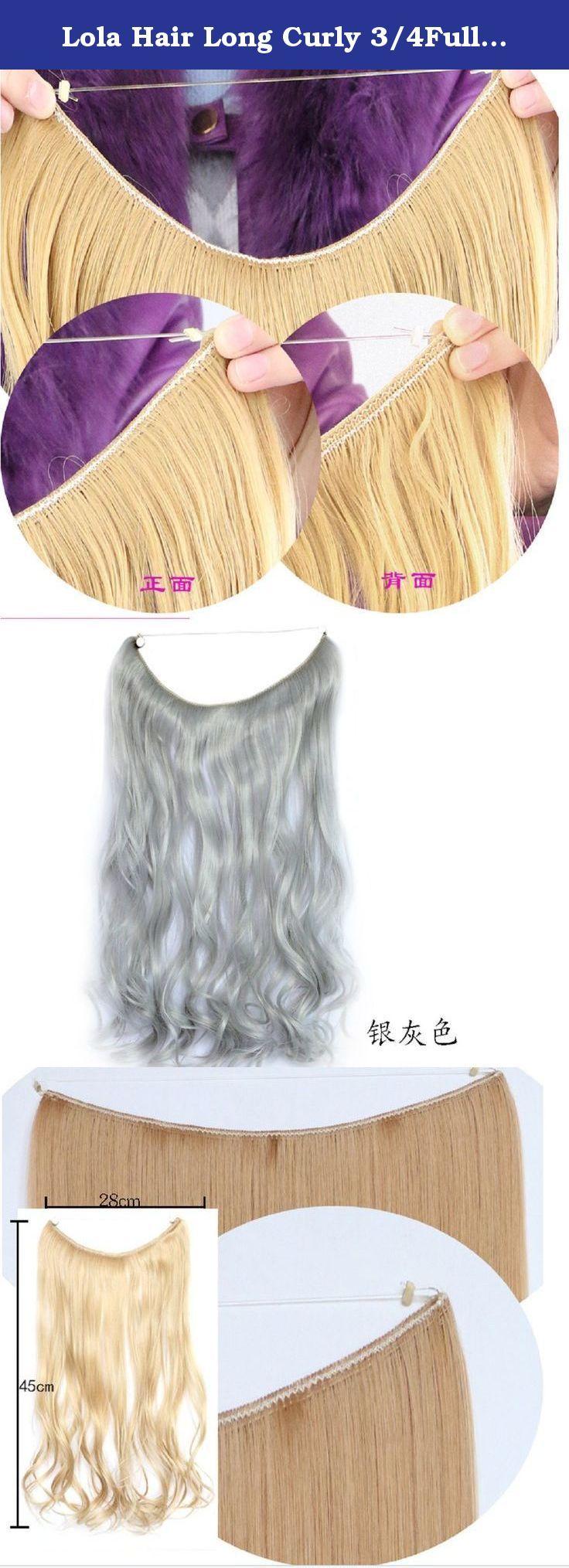 Lola Hair Long Curly 3 4Full Head Silver Gray Hair Extensions