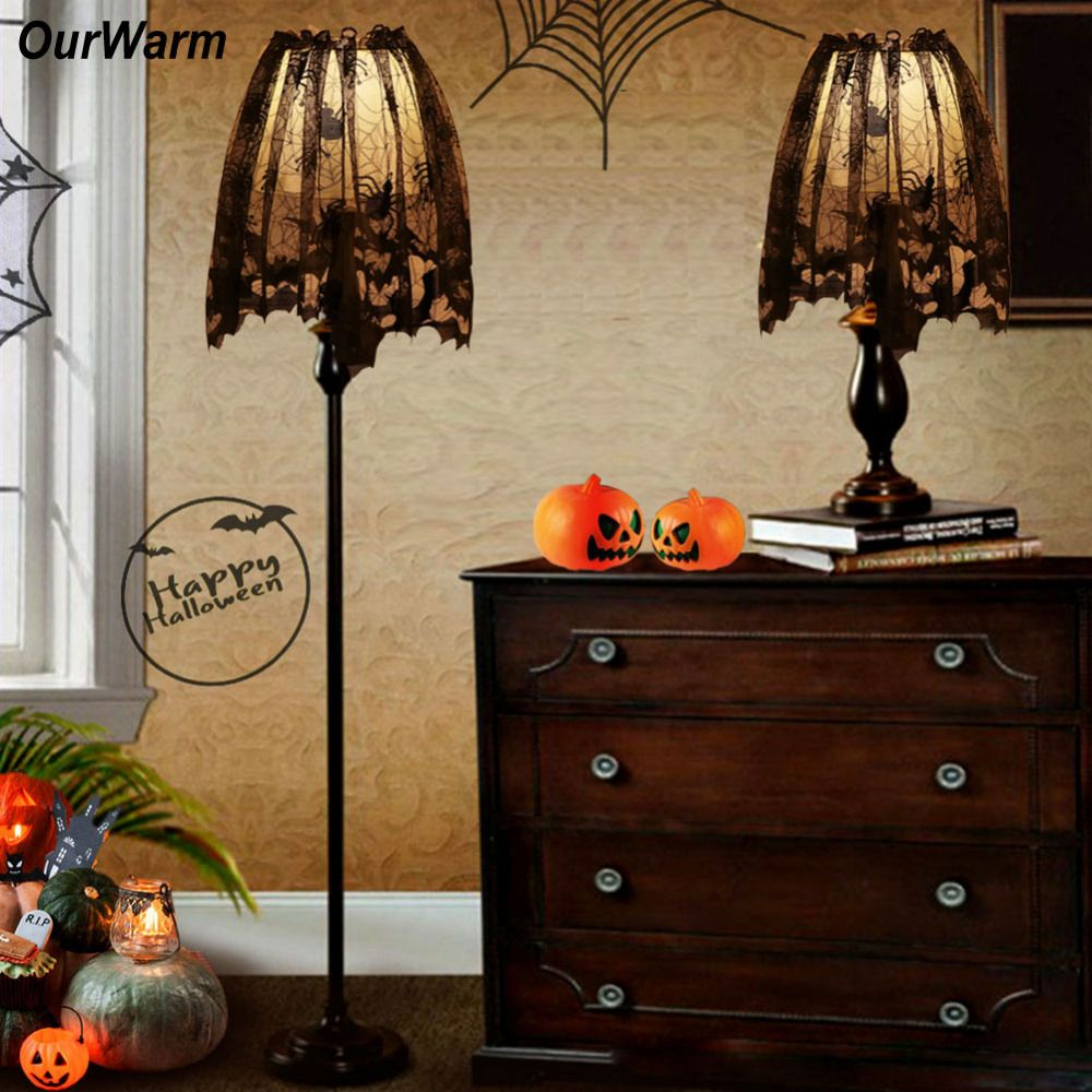 Ourwarm Piece Halloween Decoration Black Lace Spiderweb Shades