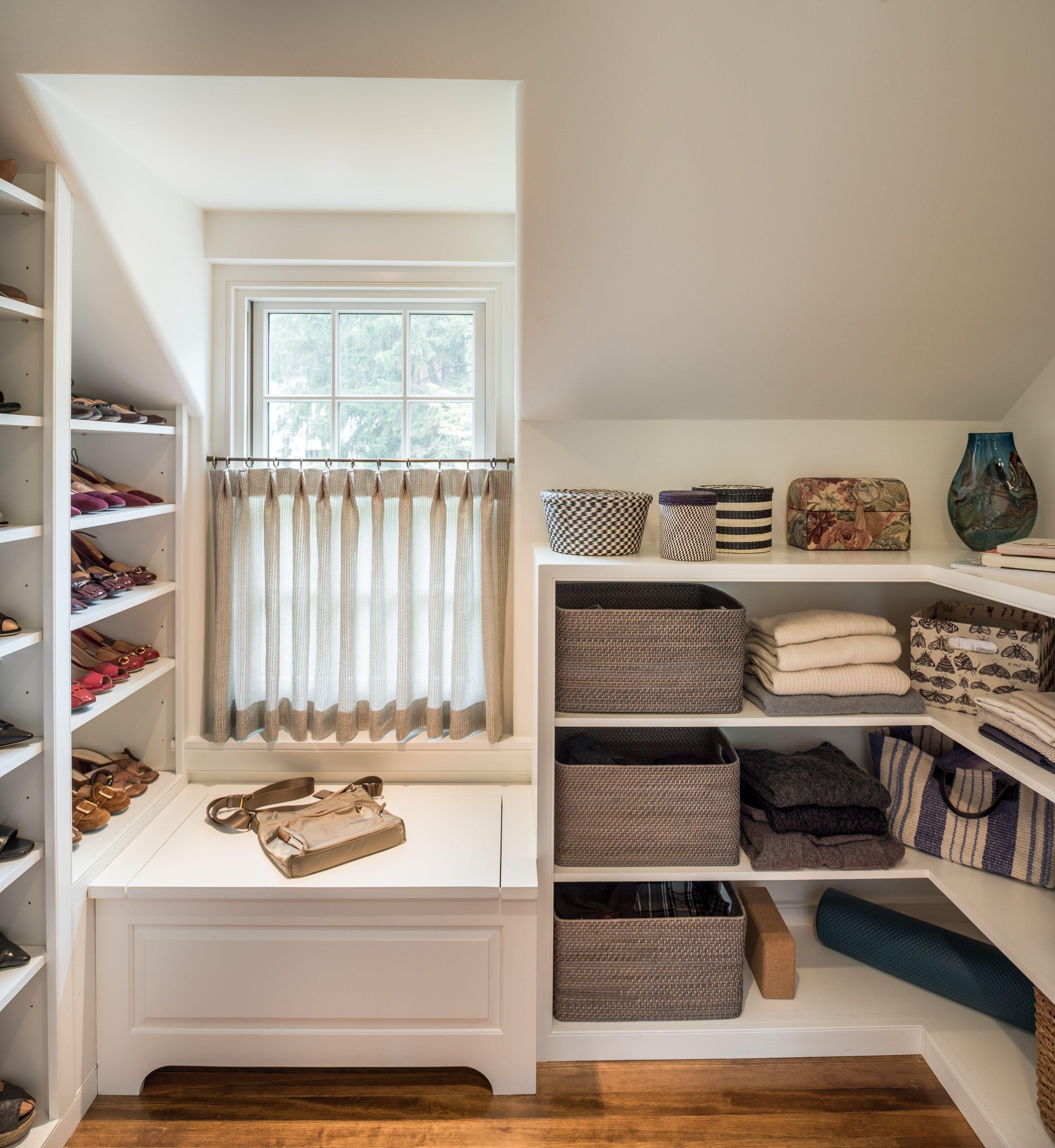 master closet with dormer window seat in berwyn