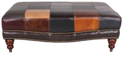 Homemakers Furniture Patchwork Leather Ottoman Futura