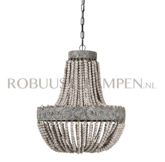 295,00 Barneveld Deze landelijke PTMD hanglamp kralen hout is een blikvanger boven u eettafel of