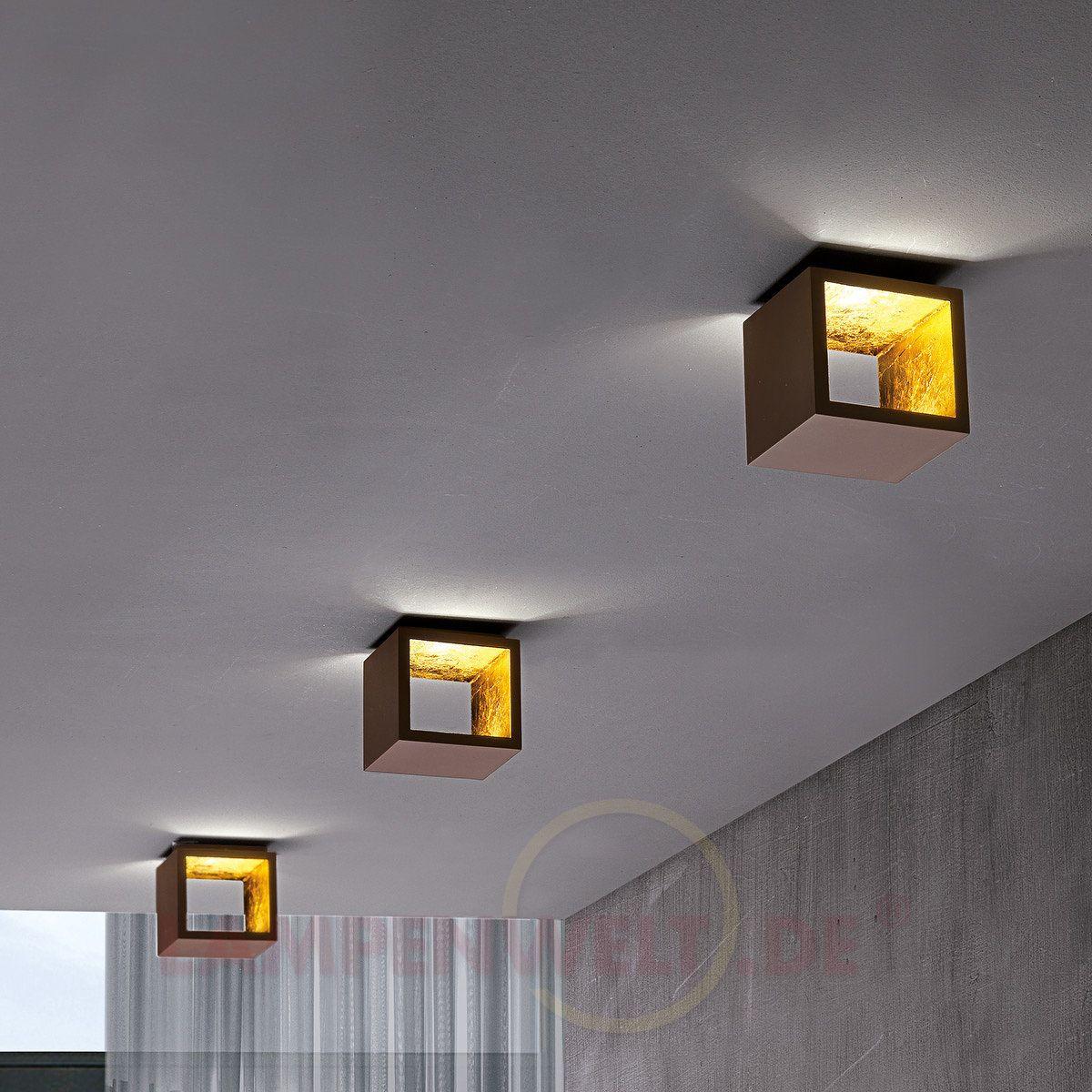 Wurfelformige Led Deckenleuchte Cubo Braun Gold 6701298 Lampen Und Leuchten Deckenleuchten Design Wandleuchte