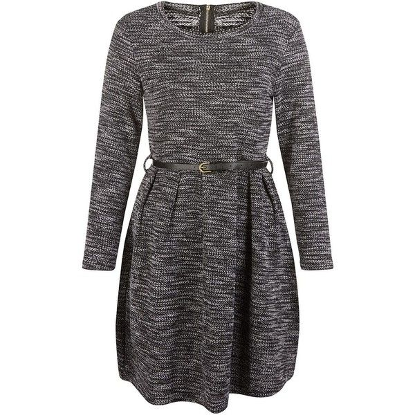 Mela Grey Ribbed Long Sleeve Belted Dress (£26) ❤ liked on Polyvore featuring dresses, grey mini dress, dresses with belts, mini dress, belted dress and zipper back dress