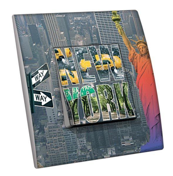 Interrupteur décoré Villes - Voyages / New York 8 simple - Decorupteur