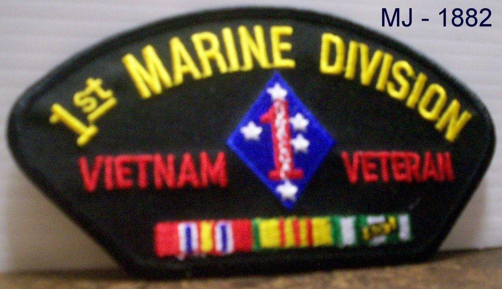 Usmc 1st Marine Division Vietnam Veteran Embroidered Patch Vietnam Veterans Embroidered Patches Vietnam