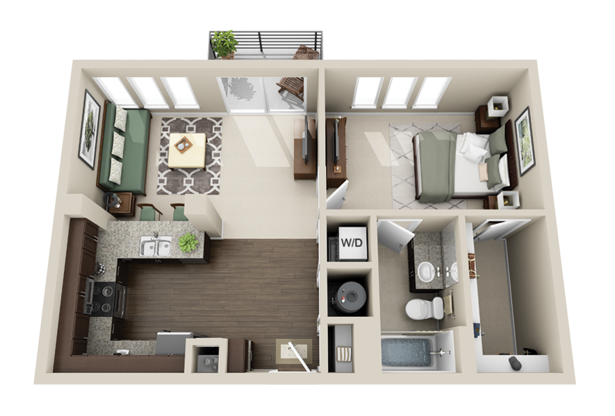 One bedroom apartment layouts google search houses for Studio apartment design 3d