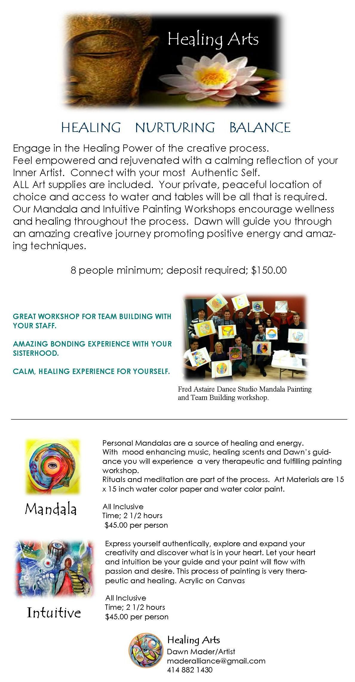 "Winter is a time of reflection.  Mandala and Intuitive Painting workshops bring out your most authentic ""self""."