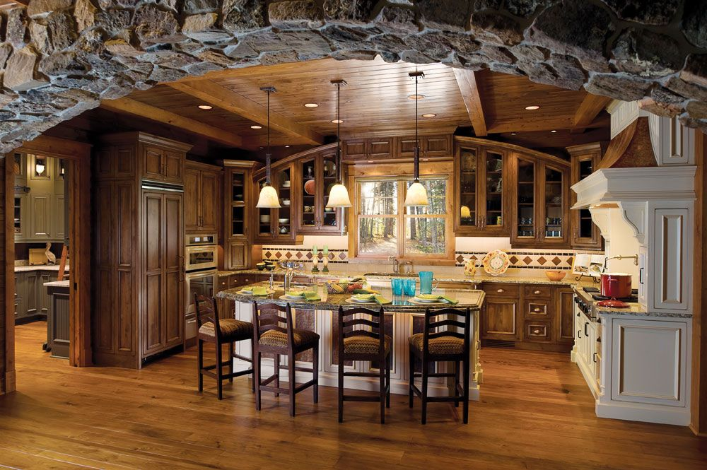 Custom+Kitchen+Designs | Natty Decoration For Modern Stone Arch Custom Kitchen Design - via