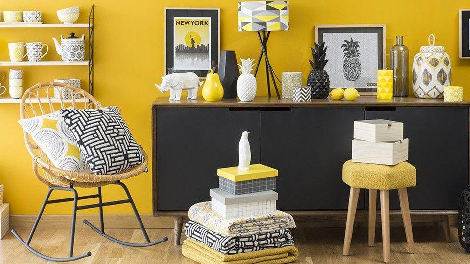 Sélection déco graphique en jaune et noir living rooms yellow