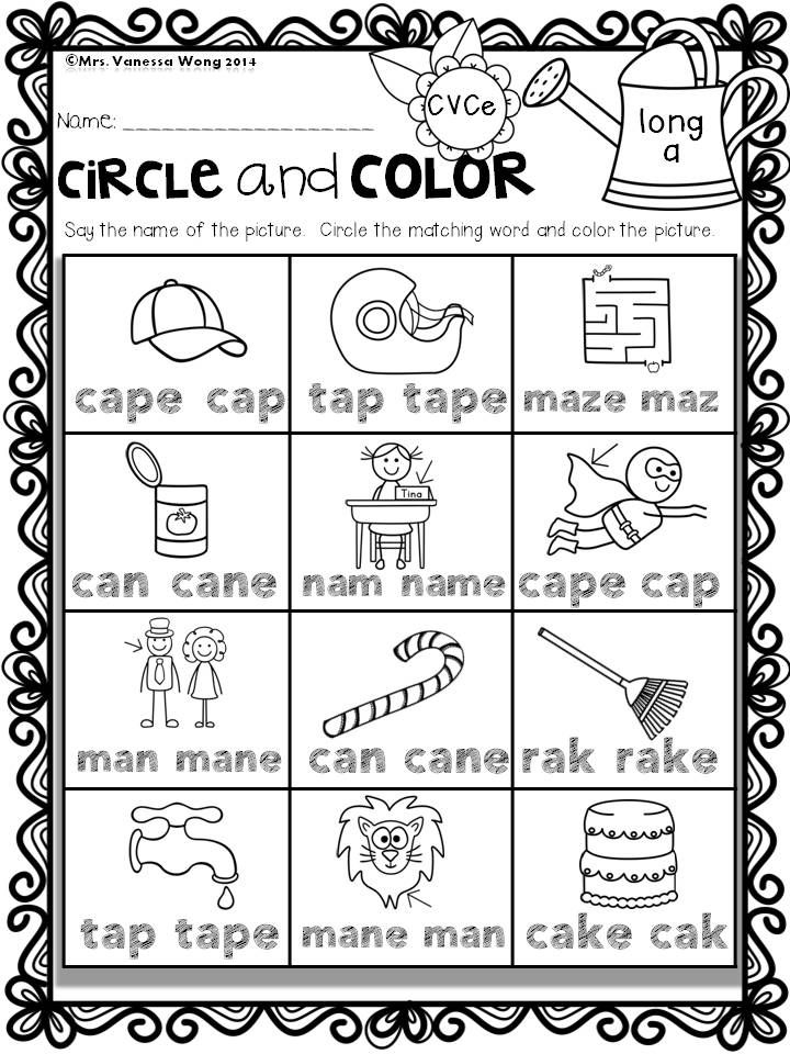 Long vowel circle and color- Spring Math and Literacy No Prep - Kindergarten An excellent pack with a lot of sight word, short vowel, long vowel, spelling, vocabulary, word work, reading, fluency and other literacy activities and practice