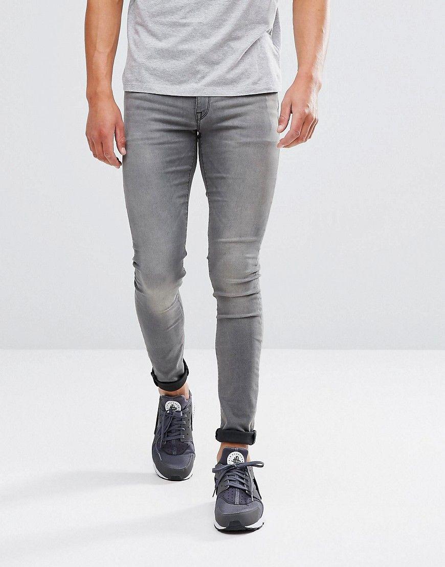 cd38bcf9b DESIGN extreme super skinny jeans light wash gray | denim | Super ...