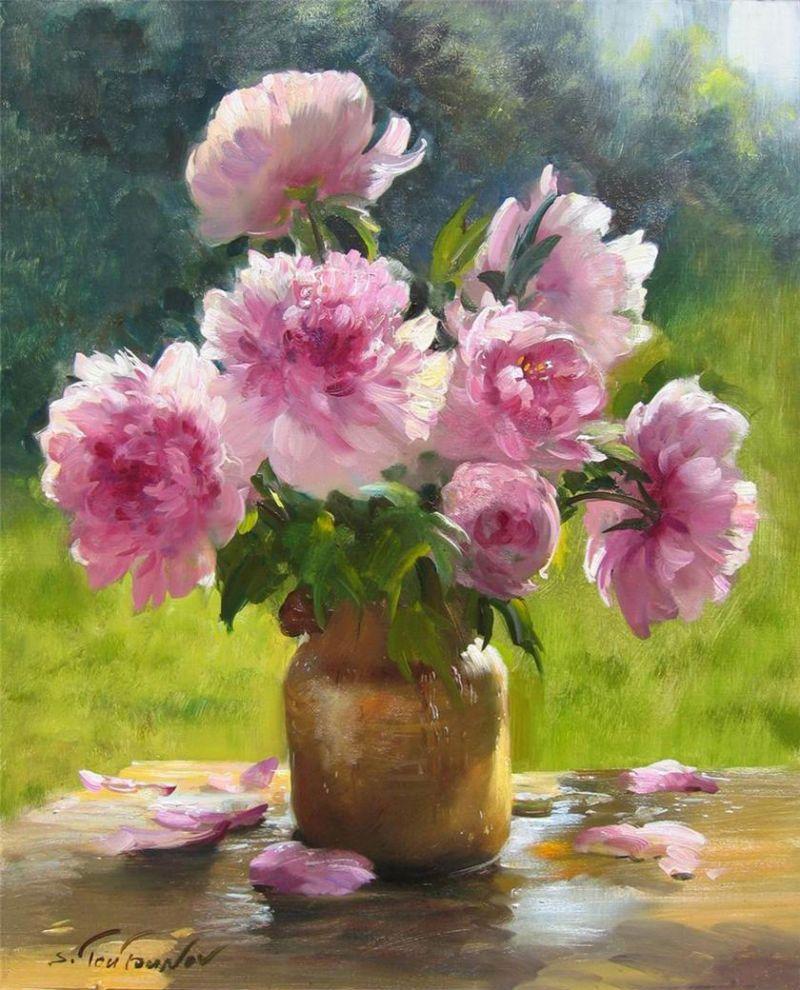 Sergei Toutounov Resim Pinterest Peony Paintings And Draw