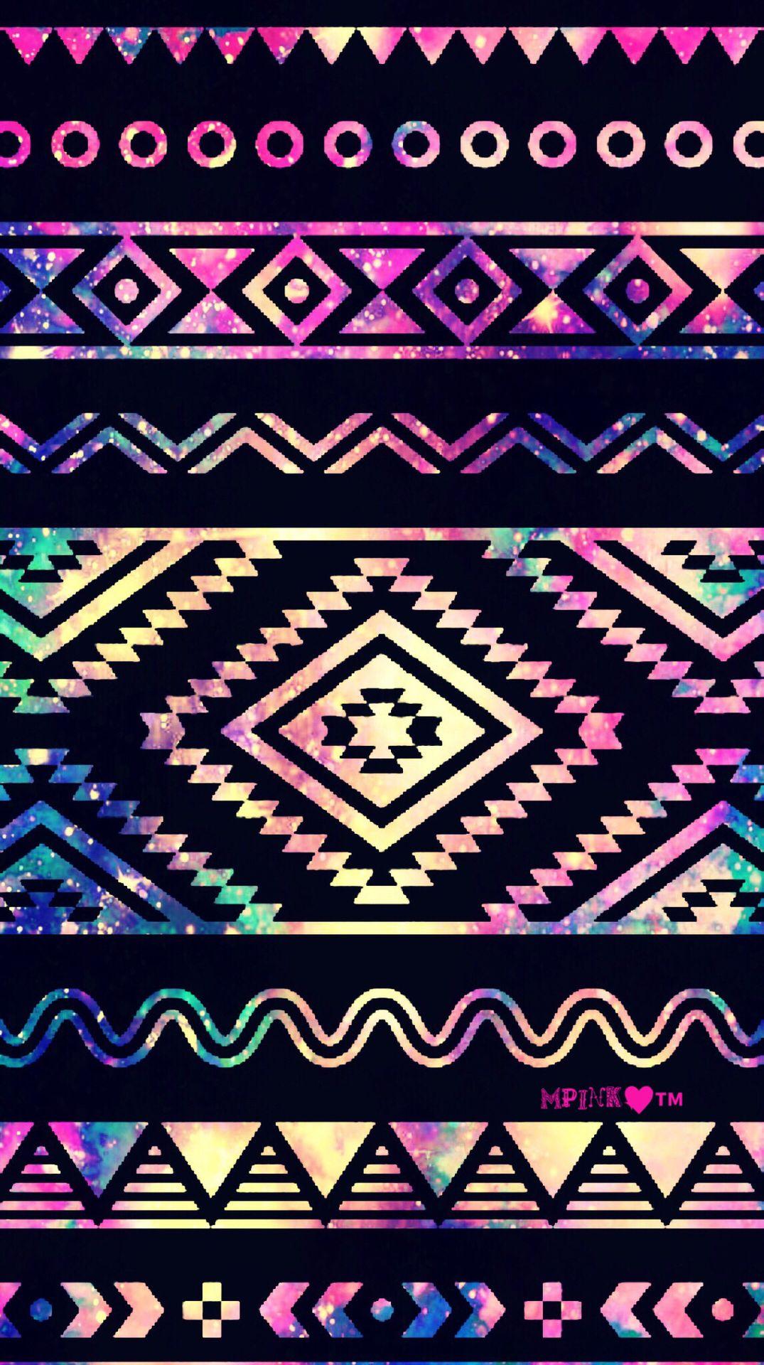 Cute Neon Aztec Galaxy Wallpaper Androidwallpaper Iphonewallpaper Wallpaper Galaxy Sparkle Glitt Tribal Print Wallpaper Galaxy Wallpaper Tribal Wallpaper
