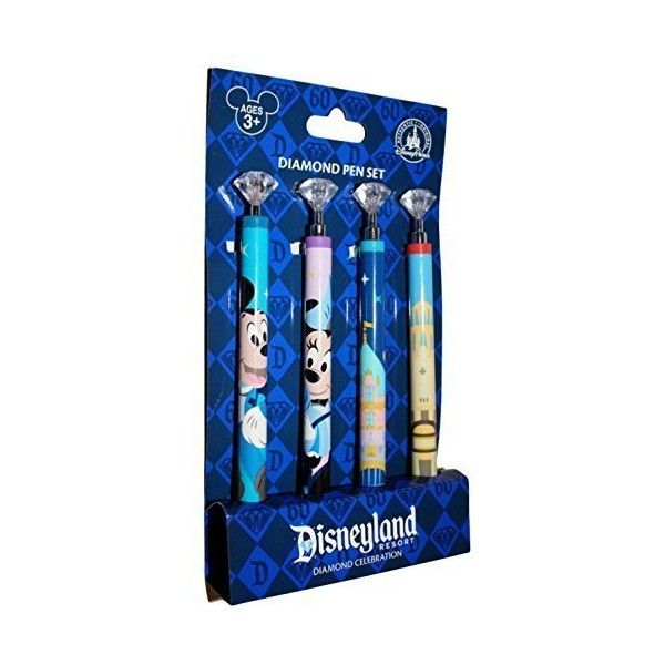 Disneyland 60th Anniversary Diamond Celebration Retractable Pen Set of... ❤ liked on Polyvore featuring home, home decor, office accessories and diamond pen