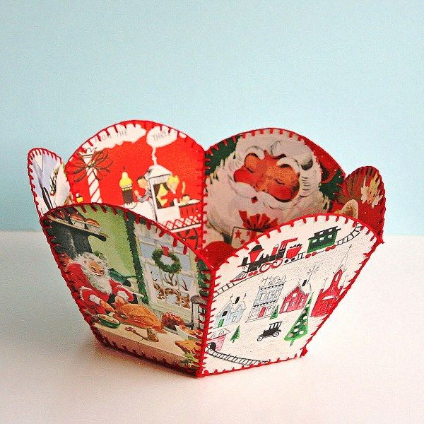 DIY Vintage Christmas Card Bowl  My Mother Had One Of These Made In The  50s. Great Way To Make Use Of Old Christmas Cards. Link Includes  Instructions.