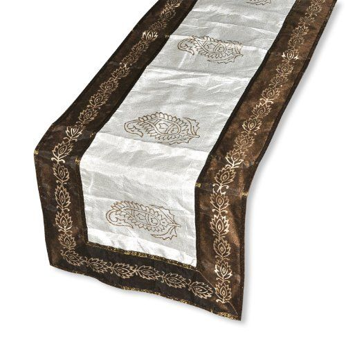 Handmade Table Runner Off White Golden Printed By Dakshcraft