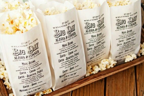 Popcorn Favor Bags Wedding Idea Rustic Gold Design Favors Custom Names And Date 20 In Each Pack