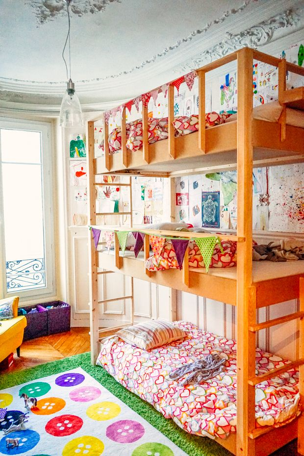 a colorful and creative shared kids room in paris bedrooms rh pinterest com
