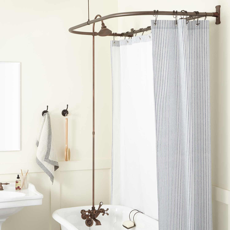 English Shower Conversion Kit In Brass Shower In Brass Cross Handles In 60 X 27 D Ring In Bronze Signature H Brass Shower Head Shower Tub