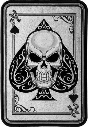 Ace Of Spades Subdued Skull Patch, Biker Back Patches