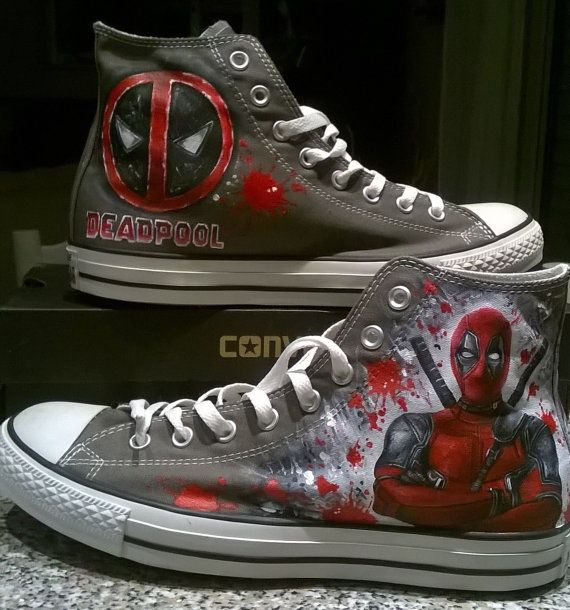 d74172dbf84c Deadpool custom hand painted shoes by christinaPcreations on Etsy