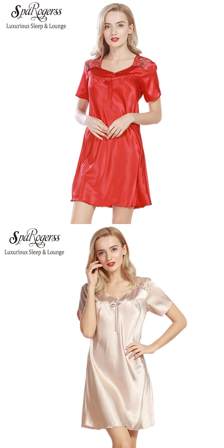 SpaRogerss Luxurious Women Nightgowns 2017 New Faux Silk Lady Summer  Sleepshirts Female Dressing Gowns Sleep Lounge Woman SQ313  ed5184f46