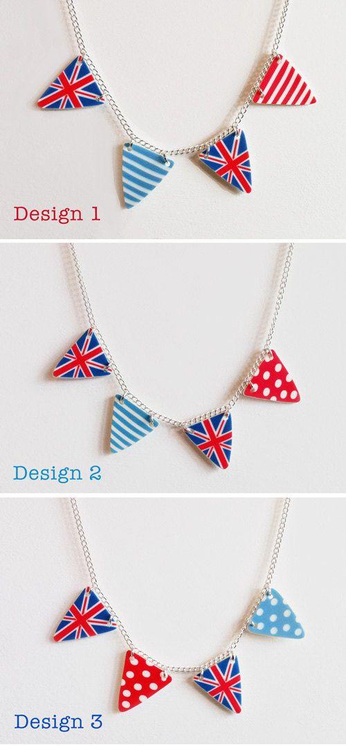 British Bunting Necklaces by Layla Amber Handmade Creations.  Fun! =)  repinned by www.handmadekids.com.au