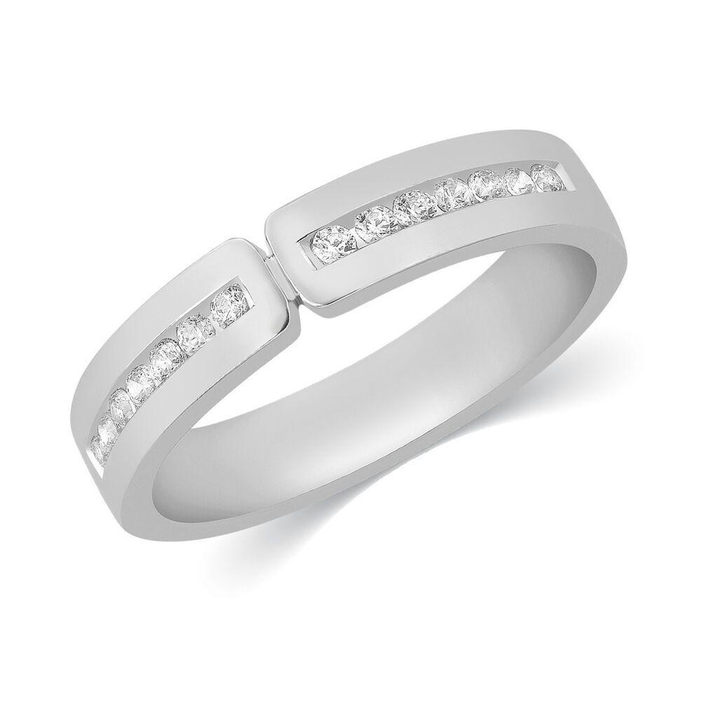b66edea8f81a5 Mens 10k White Gold Genuine Diamond Channel Set Wedding Band Ring 1 ...