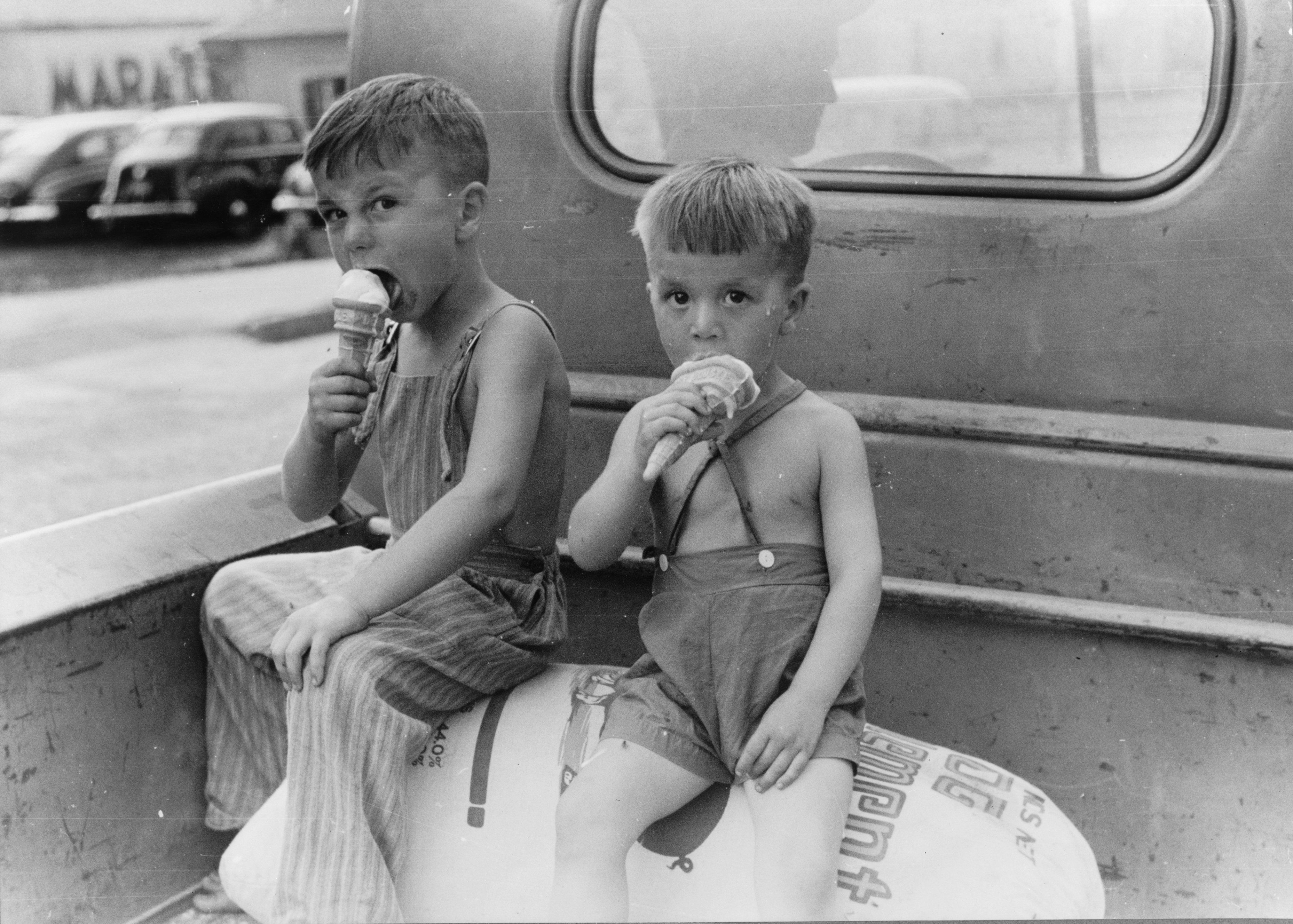 Farm Boys Eating Ice Cream Cones What A Treat