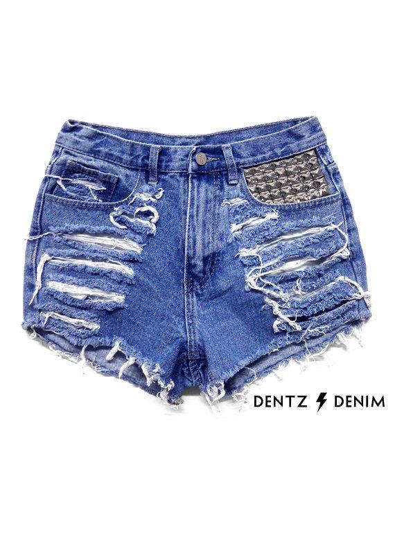 61daf2eca5 High Waisted Blue Denim Shorts - Front Pocket Stud   Shredded - Blue Jean  Shorts - Plus thru Petite