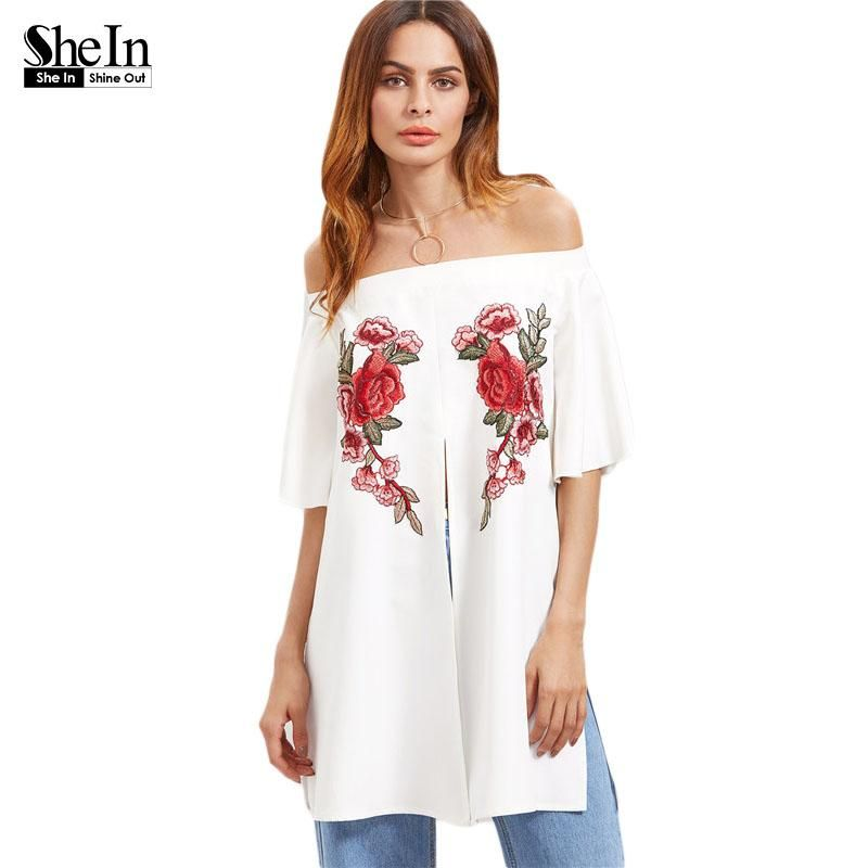 e6cdf07b27f42 SHEIN White Flower Embroidery Applique Split Front Blouse,2017 ...