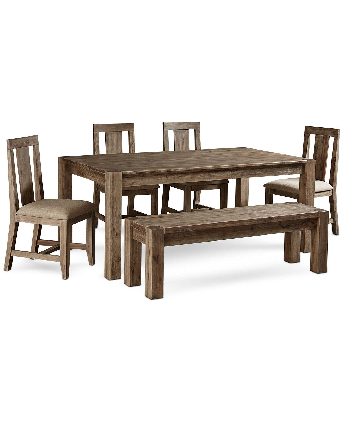 Canyon 6 Piece Dining Set Created For Macy S 72 Dining Table 4