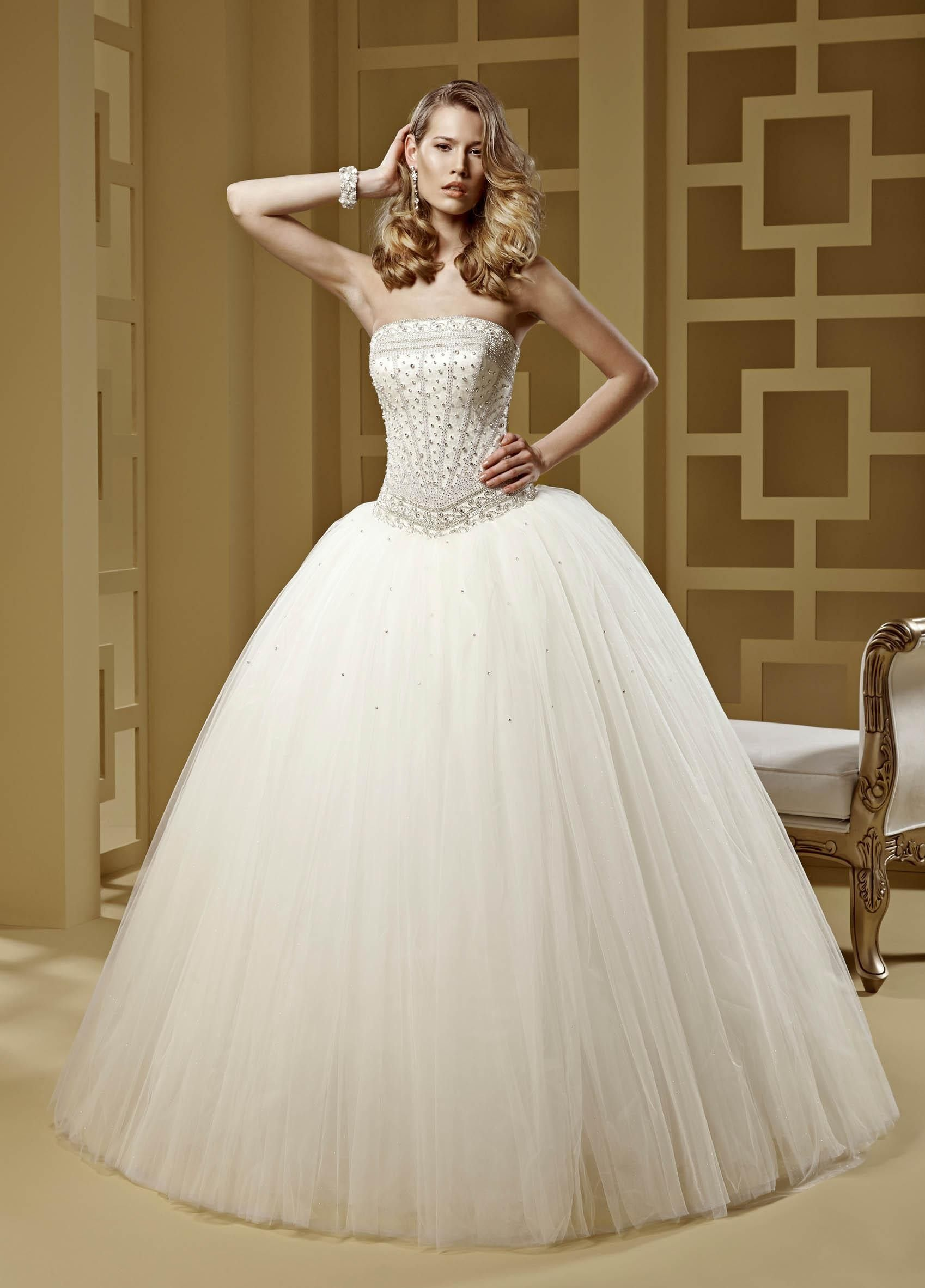 2015 Ball Gown Strapless Beading Tulle Wedding Dresses   Wedding ...