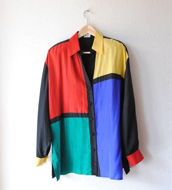7ba24cfa 80s 90s Color block Silk Blouse/ Top Vintage Button up by Cobys ...