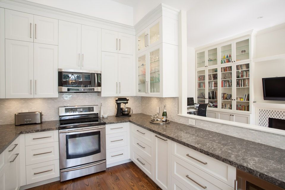 Best Coastal Grey Ceasarstone Transitional Kitchen Design 400 x 300