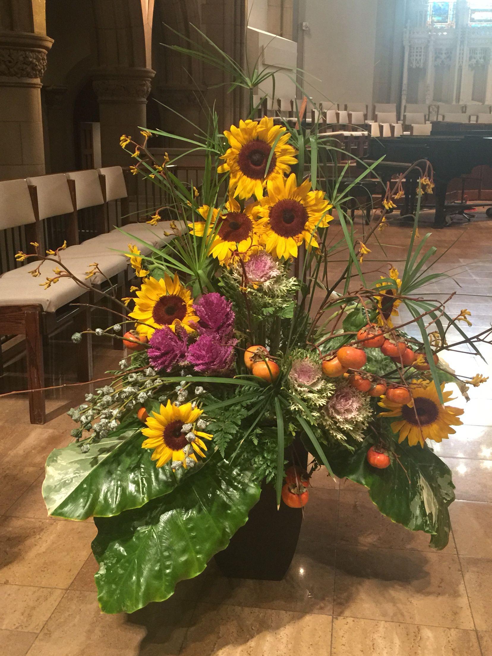 Lectern flowers 11/8 Sunflower arrangements, Creative