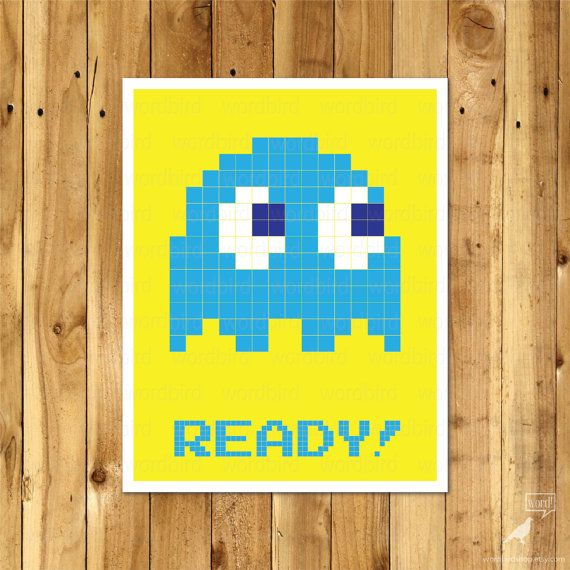 Video Game Print, Inky Pacman Poster, Video Game Print, Boys Room ...