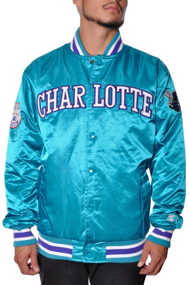 hot sale online f6066 f3ccc NBA Sports Charlotte Hornets Mens Starter Silk Quilt Button Up Puffy Jacket   STARTER  ButtonUpJacket
