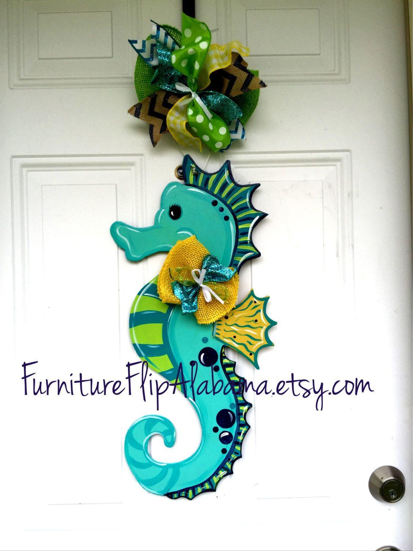 Nautical Wall Door Hanging DIY Decor Hand Carved Wooden Sea Horse Dark Blue